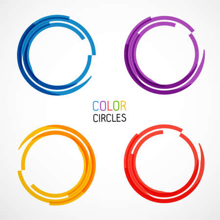 Set of color circles isolated on white
