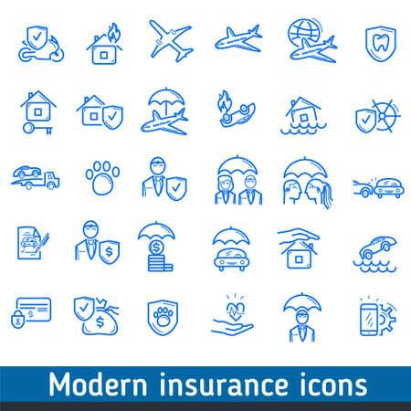 Set insurance icons.