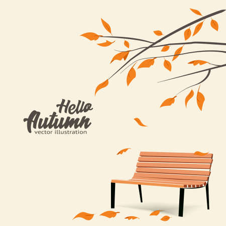 Autumn landscape, fall trees with yellow leaves, lonely bench for contemplation of autumn nature Ilustração