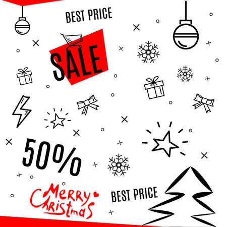 Christmas sales poster on white
