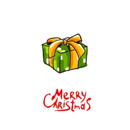 Christmas gift. Vector illustration. Hand drawn