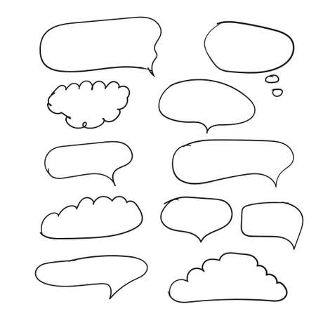 Outline speech bubbles. Doodle speech balloon sketch hand drawn scribble bubble talk cloud comic line retro shouting shapes vector set