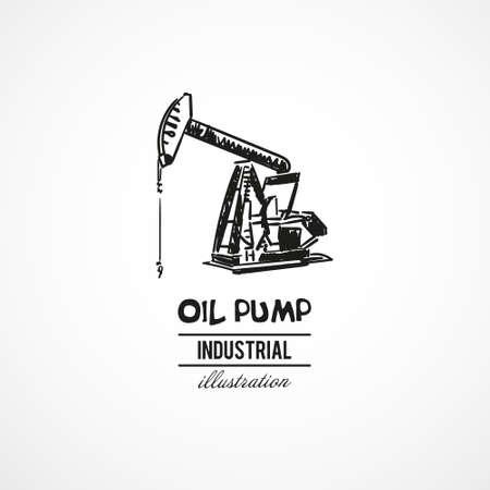 Hand drawn oil pump, industrial equipment. Vector illustration. Sketch. Vektorové ilustrace