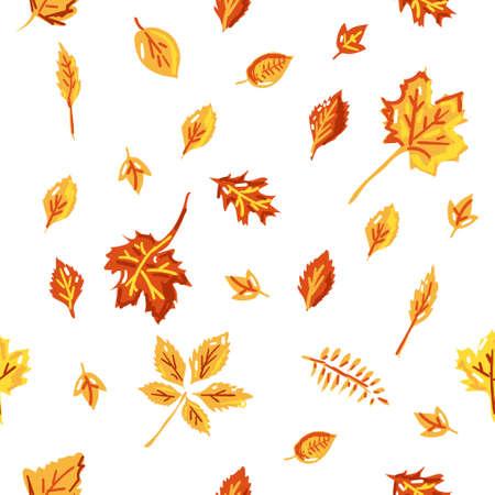 Seamless pattern. Vector illustration. Autumn leaves.