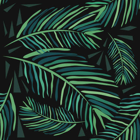 Seamless pattern with tropical leaves on a dark background. Palm trees and monstera. Hand-drawn watercolor background.