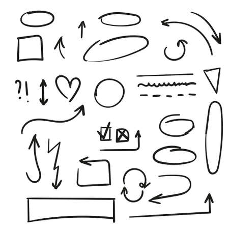 Arrows circles and abstract doodle writing design vector set
