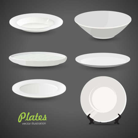 Set of empty white plate on the gray background 向量圖像