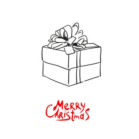 Christmas gift hand drawn. Vector illustration 向量圖像