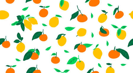 Lemons and oranges seamless pattern. Hand drawn citron objects for textile,, backdrop, wallpaper, background, print, fabric. Flat style.