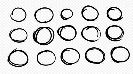 Hand drawn circle line sketch set. Circular scribble doodle round circles for message note mark design element. Pencil or pen graffiti bubble or ball draft illustration. 向量圖像