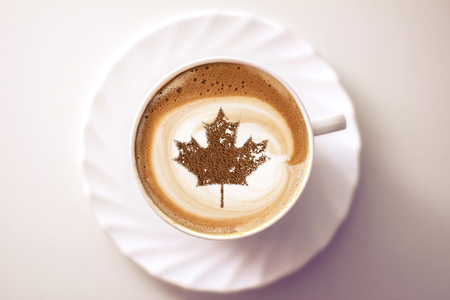 July 1 Independence Day Canada drawing a clover on a cup of coffee