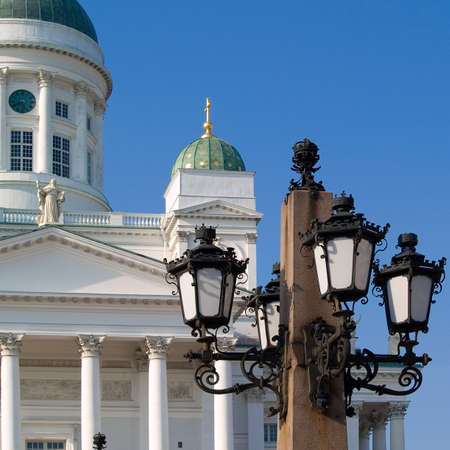 Helsinki cathedral with hammered city lantern in front
