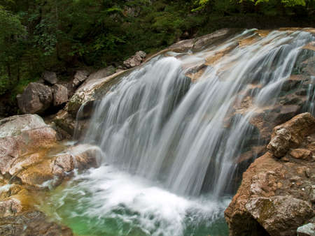 allgau: Waterfall of alpine mountain river shot with long exposure