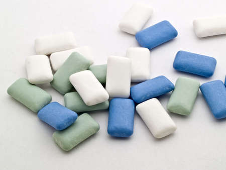 Mass of chewing gum laying on each other