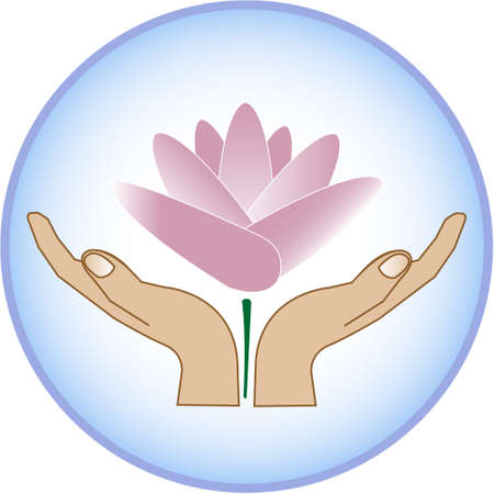 Lotus flower raising from hands profile view