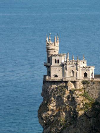 crimea: Swallow Nest castle sideview in Crimea Ukraine