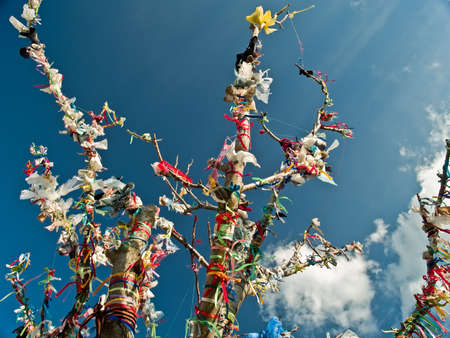 Tibetan spiritual tree with flags on blue sky Stock Photo