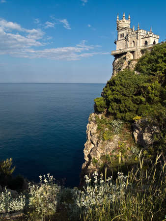 sideview: Swallows Nest Castle Surrounding Sideview Grass Evening Stock Photo