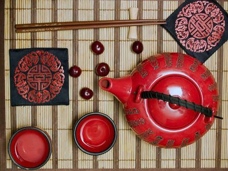 Oriental tea ceremony set from above still-life Stock Photo - 3224371