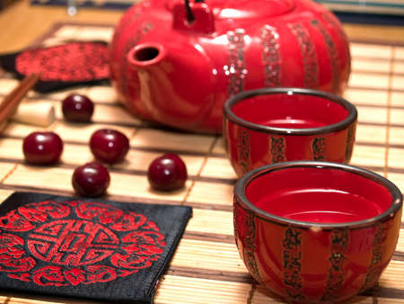 Sake drinking set close-up perspective with cherry