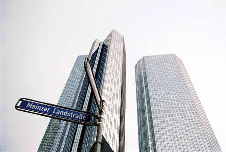 Scyscrapers in Frankfurt Main, Germany and street sign photo