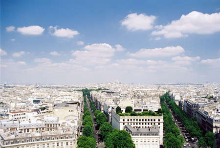 Paris aerial view from arch de triomphe daytime