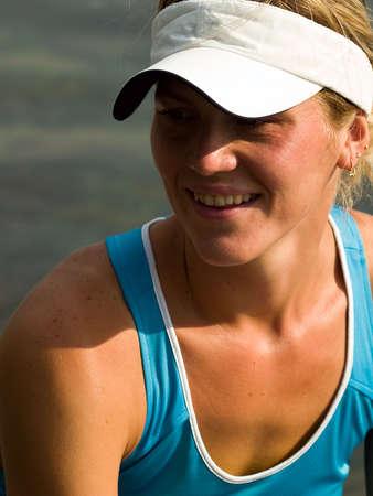 sportwear: young beautiful girl in sportwear smiling portrait Stock Photo