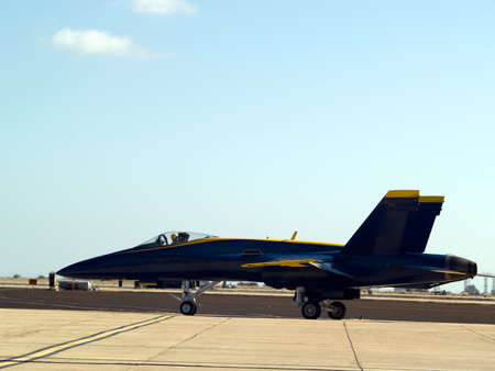 f18: F-18 Blue Angel taxiing for take off Miramar AFB Stock Photo