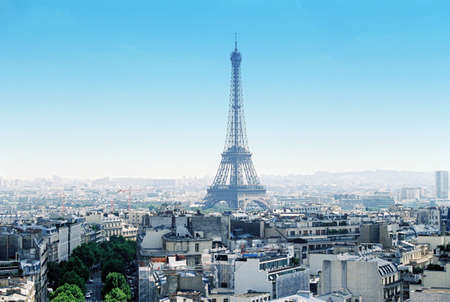 Paris cityscape with Eiffel Tower in center clear sky  Stock Photo