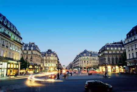 paris street: Night scene near Grand Opera in Paris