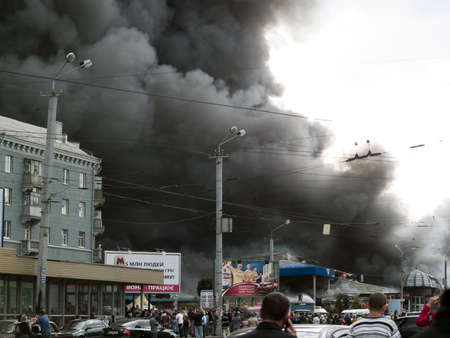 Dnipropetrovsk, Ukraine, 22 september 2009: Slavyansky market fire. The wholw market was burnt in 1 hour.