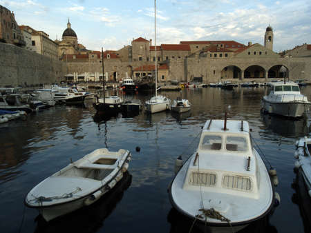 Dubrovnik old city harbor view at dawn photo