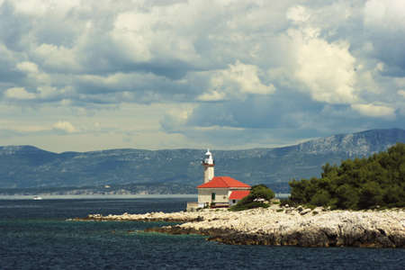 brac: Seascape with lighthouse on Brac island Croatia