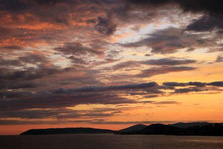 dalmatia: Beautiful sea sunset over Split city in Croatia