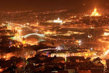 tbilisi: Tbilisi paesaggio urbano di notte Archivio Fotografico