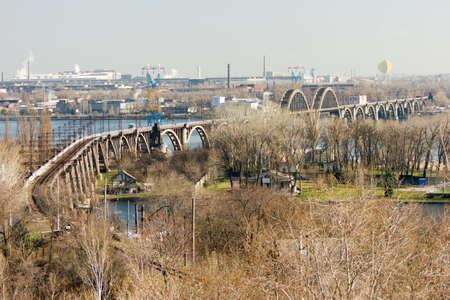 dnipro: Merefo-Khersonskiy railway bridge over Dnipro river in Dnipropetrovsk, Ukraine