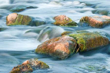 River, Rapid, Flowing, Stream, Reed, Water, Rock