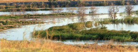 Autumn river panorama Stock Photo