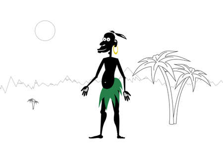handbreadth: There is smiling aboriginal on a sunny day  Illustration