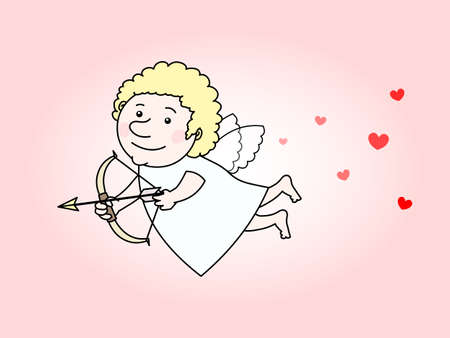 Flying cupid with a golden arrow and surrounded by hearts
