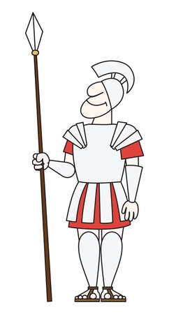 militant: There is an ancient warrior in armor with a spear  Illustration
