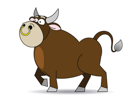 nose ring: There is a brown bull with a gold ring in the nose. Illustration