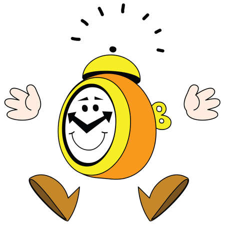 There is a jumping alarm clock with а fun smile.