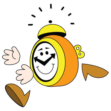 horologe: There is a running alarm clock with а fun smile.