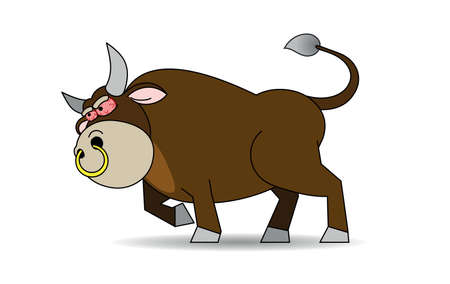 nose ring: There is a rabid brown bull with a gold ring in the nose and red eyes  Illustration