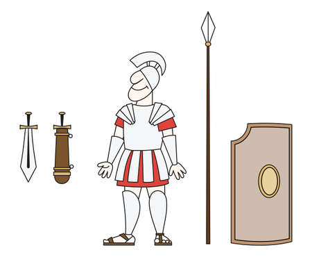 gad: There is an ancient warrior in armor with a spear, sword and shield  Illustration