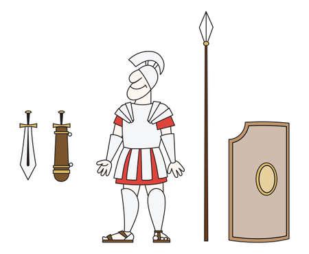 elvonult: Van egy régi harcos páncélban egy lándzsa, kard és pajzs Illusztráció