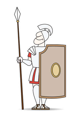 secluded: There is an ancient warrior in armor with a pike and shield