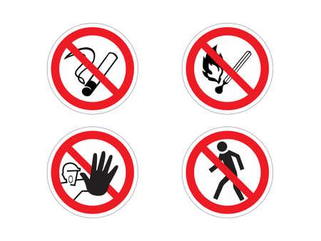 embargo: 4 regulatory signs: no smoking, no fire, prohibition, no crossing