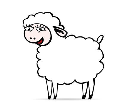 brute: There is a white smiling sheep with big eyes to say b-a-a.